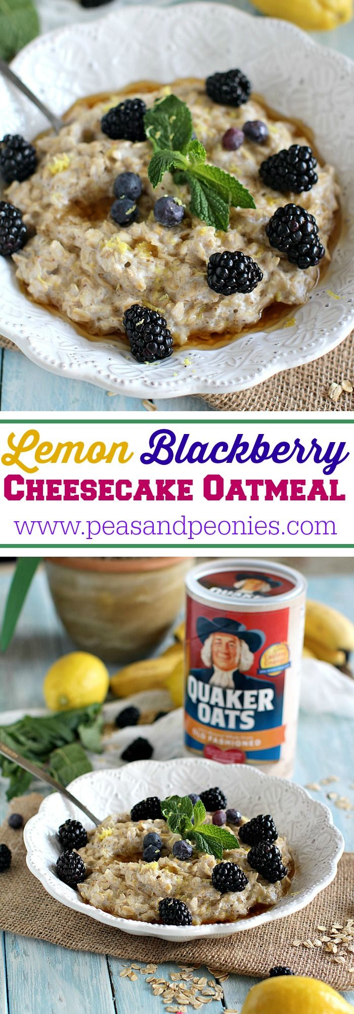 Maple Lemon Blackberry Cheesecake Oatmeal made with milk, lemon zest and ricotta, topped with fresh blackberries and sweet maple syrup! #BringYourBestBowl #Walmart #ad