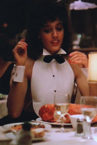 Loved this scene in Flashdance, barely there tuxedo, lobster and good old footsie under the table