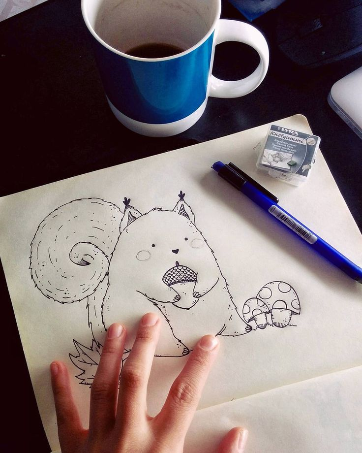 Sketching on Sunday morning 🐿  www.facebook.com/imostrinellatesta   Lucia Petrucci Illustrations