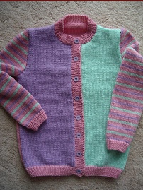 Girls 8ply, three colour cardigan, knitting pattern for sizes 2 to 8 years