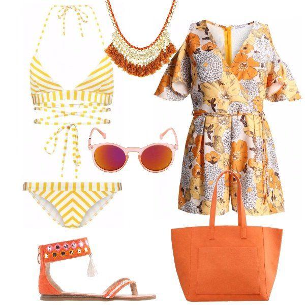 Bikini a righe bianche e gialle, con slip a vita bassa, top legato dietro al collo e lacci decorativi sull'addome. Jumpsuit corta, in fantasia floreale, scollo incrociato. spalle scoperte, maniche corte e cintura in vita. Infradito flat, arancioni, con cinturino alla caviglia, impreziosito da paillettes e nappe. Capiente shopping bag arancione con doppi manici e occhiali da sole ovali, con montatura arancione semi trasparente e lenti sfumate. Con...