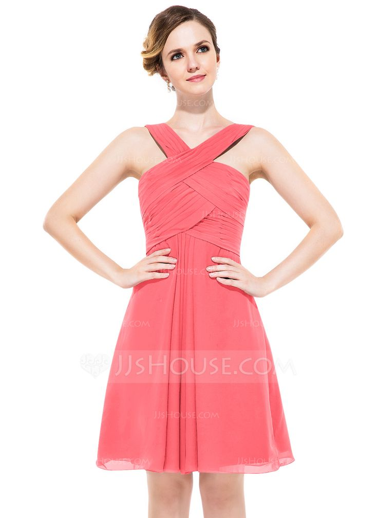 Corte A/Princesa Escote en V Hasta la rodilla Chifón Dama de honor con Volantes (007051434) - JJsHouse