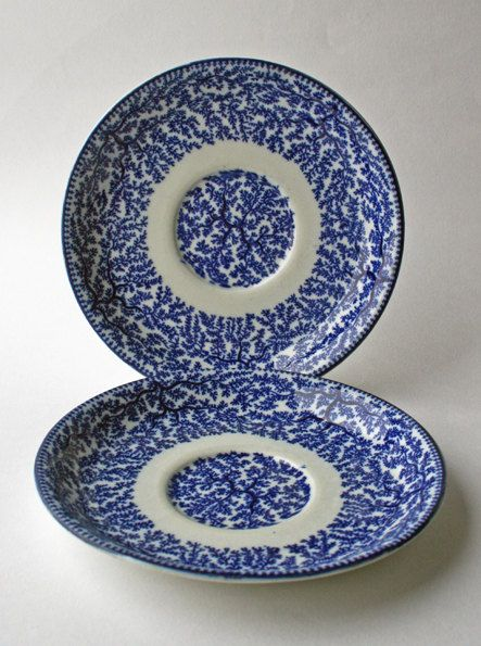 Two Woolworth Fibre Saucers/ Salad/ Starter Plates early 20th century blue and white tableware, England, by gardenfullofVintage on Etsy