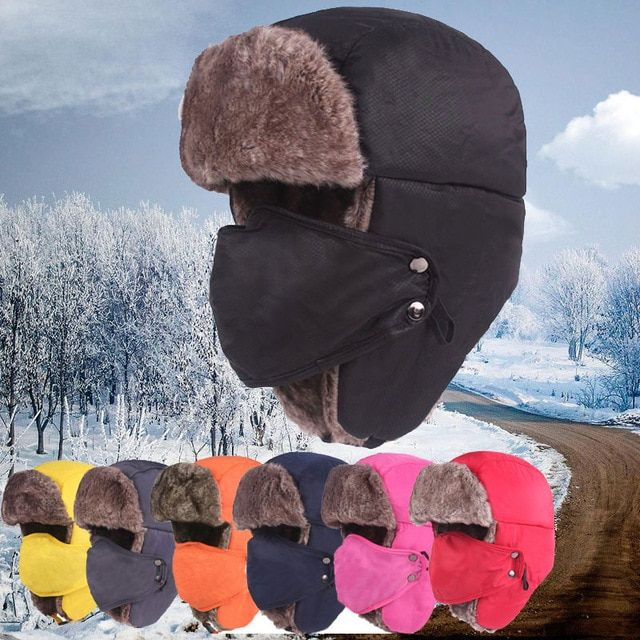 Winter Trooper Trapper Pilot Aviator Russian Ushanka Style Ski Hunting Hats  Cap with Ear Flaps and Face Mask for Men bec63493ce1e