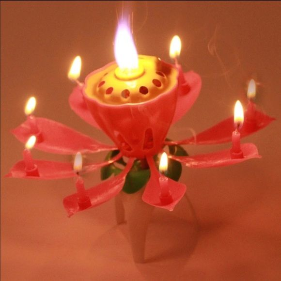 Rotating Musical lotus flower birthday candle Brand new!!! Accessories
