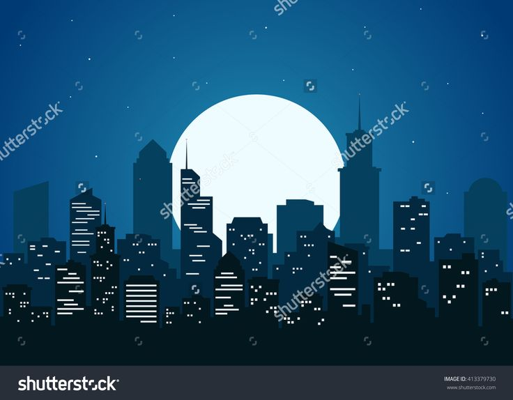 Night City Vector Illustration. Dark Urban Scape. Night Cityscape In Flat Style. Night City Skyline Abstract Background. Modern Night City Landscape. - 413379730 : Shutterstock