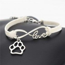 Stylish Personalized Silver Pets Paw Charms Pendant Leather Love Bracelet