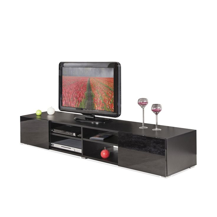 excellent meuble tv laqu noir tiroirs maxo fr with meuble tv angle alinea. Black Bedroom Furniture Sets. Home Design Ideas