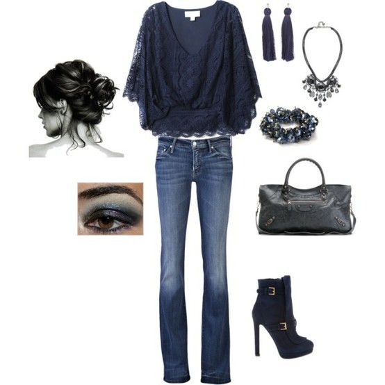 love this look: Fashion, Casual Outfit, Style, Shirts, Clothing, Blue, Cute Outfit, Dates Night, The Navy