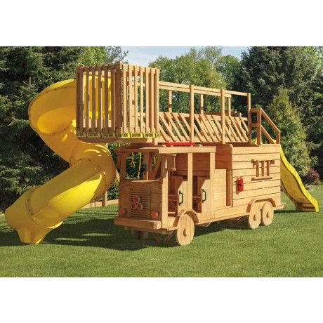 Amish Made 13x4 ft Wooden Ladder Fire Truck Playground Set