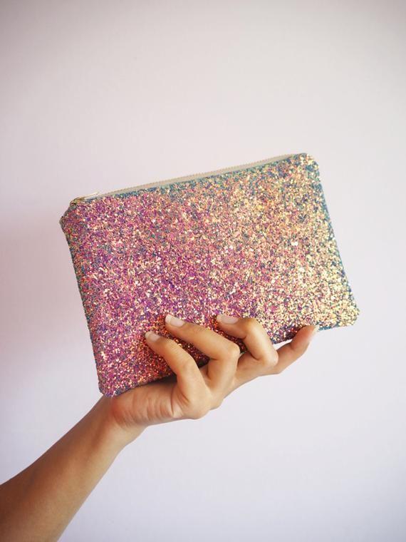 Purple Rainbow Glitter Makeup Bag Purple Glitter Cosmetic Bag