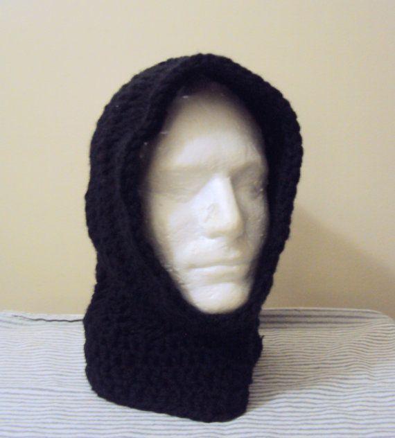 Mens Cowl Knitting Pattern : Mens Hoodie Crochet Hooded Cowl Scarf Scoodie Black Gamer Hood Ski Winter Ear...
