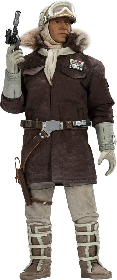 "Sideshow Collectibles Star Wars Captain Han Solo - Hoth Sixth Scale Figure ~ ""Solo is fitted in an authentically replicated brown quilted parka, complete w rank insignia & fur-trimmed hood. 2 scarves, cap & goggles. Also fully equipped w a blaster pistol, macrobinoculars, droid caller, & portable life scanner."" ~ To be paired w Tauntaun & Commander Luke Skywalker Sideshow Collectible pieces ~ New: 199.99 ~ Release Date: Dec 2014"