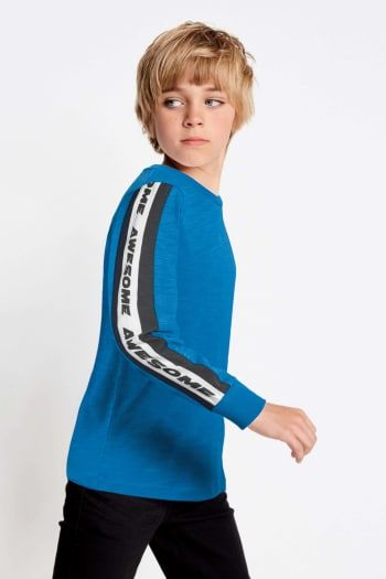 1b030580f Boys Next Cobalt Printed Sleeve Tape T-Shirt (3-16yrs) - Blue ...