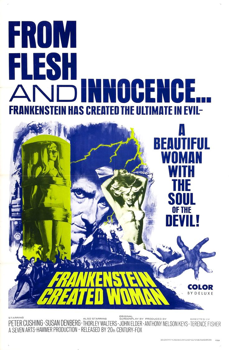 """Movie Poster for the Hammer horror film """"Frankenstein Created Woman"""" (1967), directed by Terence Fisher and starring Peter Cushing and Susan Denberg as the titular scientist and woman, respectively"""