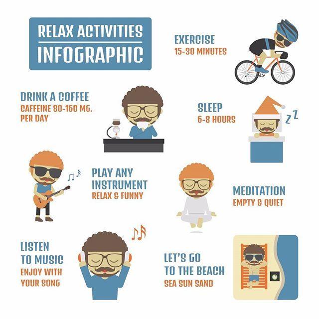 """Punya banyak kegiatan setiap harinya? Pastinya waktu istirahat menjadi sangat berharga, dari pada hanya memanfaatkannya dengan tidur, yuk simak infographic mengenai """"Relax Activities"""" agar Anda tetap bugar tanpa kekurangan waktu istirahat😋 . #infographic #firoll #roll123 #tips #relax #activities #inspiration #daily #jakarta #indonesia #dailyroutine #jkt #relax #sports"""