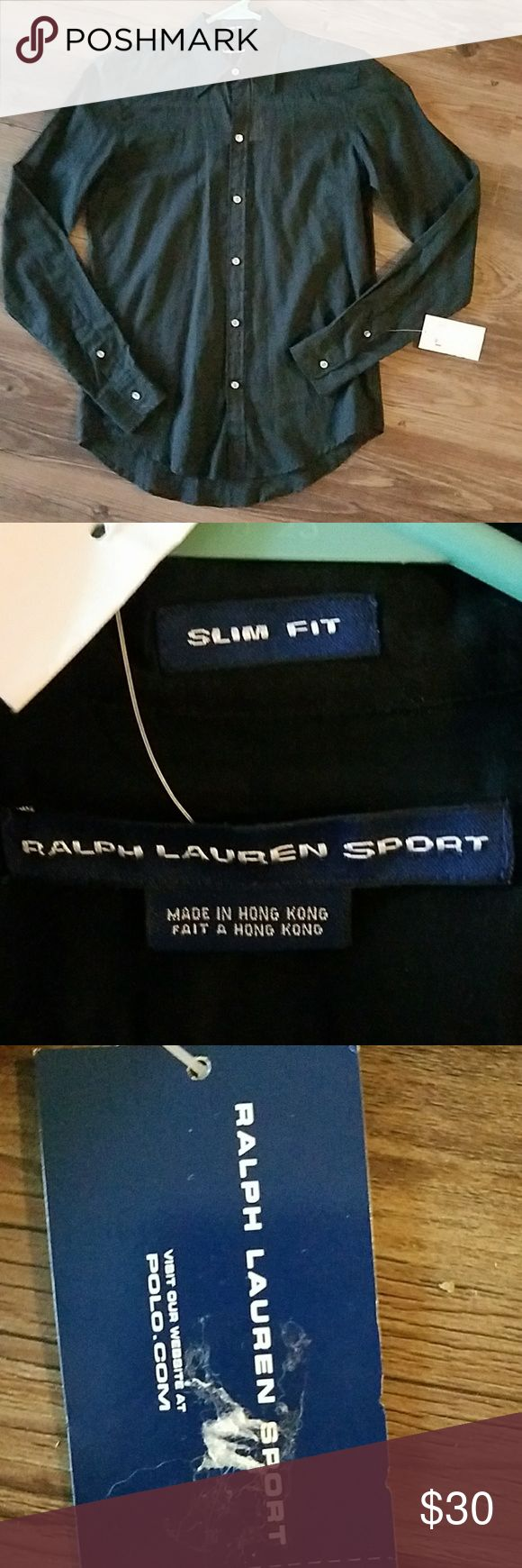 RALPH LAUREN 👕 NWT.. BLACK BUTTON DOWN SHIRT RALPH LAUREN SPORT..Slim Fit..NWT..womens black long sleeve collared button down shirt..size 2..Even comes with extra buttons..100% cotton..PERFECT CONDITION!!!! RALPH LAUREN  Tops