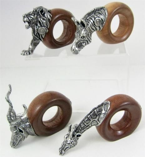African Jungle Safari theme pewter & wood napkin rings, made in South Africa. Available at www.Connectibles.net