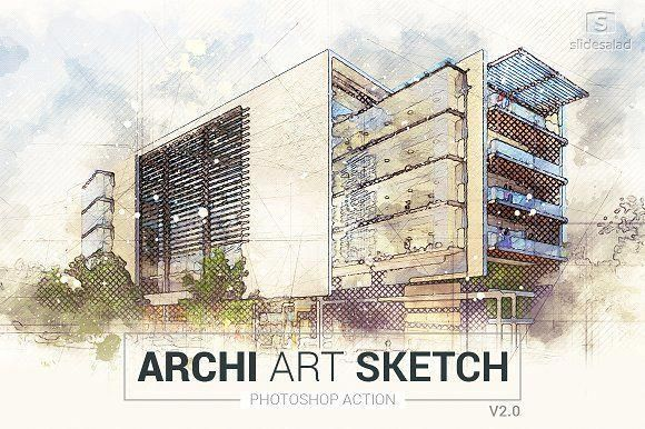 Archi Art Sketch Photoshop Action V2 Creativework247