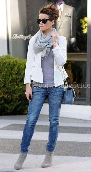 Kate Beckinsale wore the chic white Naven Bardot Blazer going shopping with a gal pal on Wednesday afternoon (February 27) in Beverly Hills, Calif.