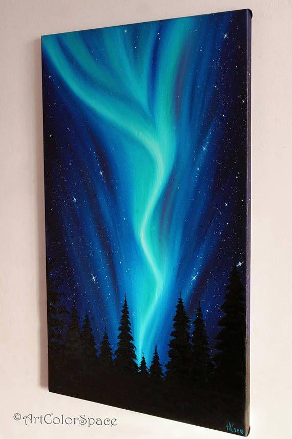 Northern lights art Oil painting on canvas Night sky Aurora borealis art Northern lights Large painting Aurora canvas