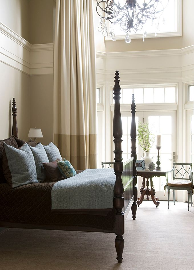 Beautiful Master Bedroom With Tall Cream Bordered Drapery Panels The Boudoir Pinterest