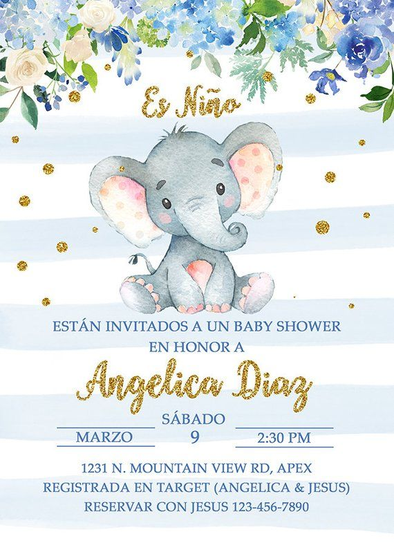 Baby Shower Invitations In Spanish : shower, invitations, spanish, Niño, Invitación, Shower, Español, Elephant, Invitations,, Invitations, Boys,