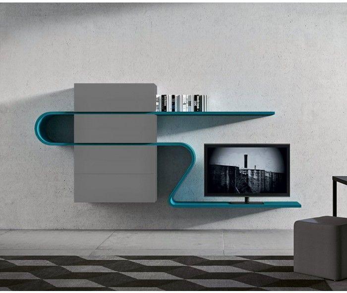 Extravagante TV Wohnwand Dunkelgrau Fango Petrol/ Extraordinary TV Board
