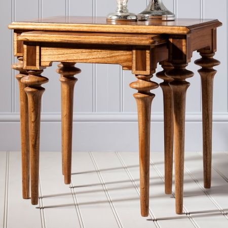 Frank Hudson Spire dining, nest of 2 tables with a rustic French finish £440.00 Shop >http://www.beau-decor.co.uk/side-coffee-tables/frank-hudson-spire-dining-nest-of-two-tables