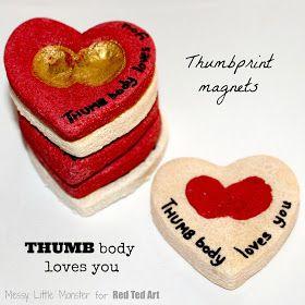 Salt Dough Thumbprint Valentine Magnets and Keychains