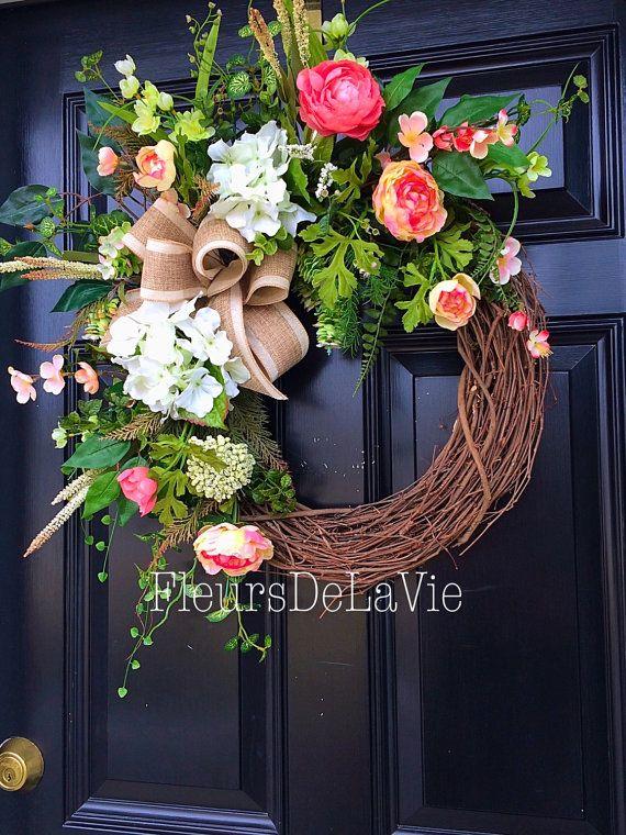 Spring door wreath Front door wreath Grapevine by FleursDeLaVie