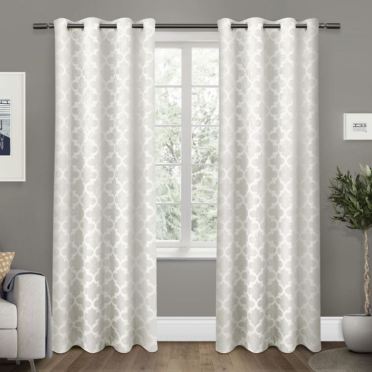 White Cartago Blackout Curtain Panel Set, 108 in. | Kirklands