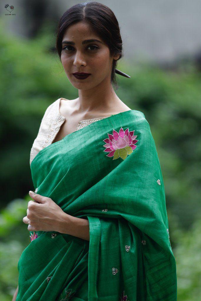 Emerald Green Tussar Silk Kamala Saree