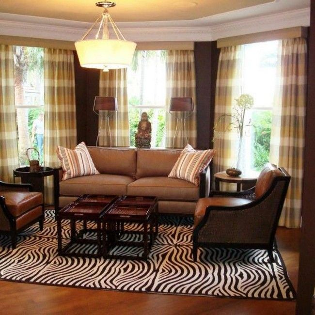 Area rug with zebra print patterns