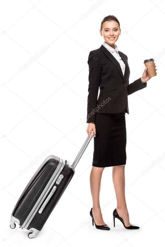 Beautiful Young Businesswoman Suit Luggage Paper Cup Coffee Looking Camera Stock Sponsored Suit Lugg With Images Business Women White Stock Image Infographic Design