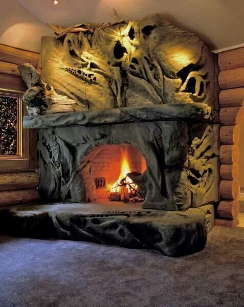 Carved Sandstone Fireplace