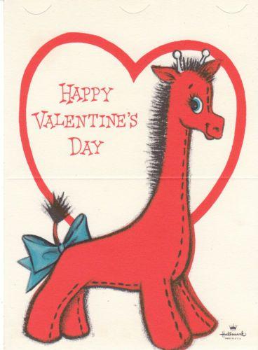 Valentine S Day Vintage Toys : Vintage valentine card red giraffe die cut for children