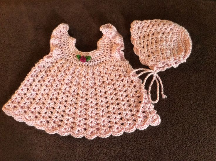 Crochet, shell stitch, baby girl dress and bonnet set.