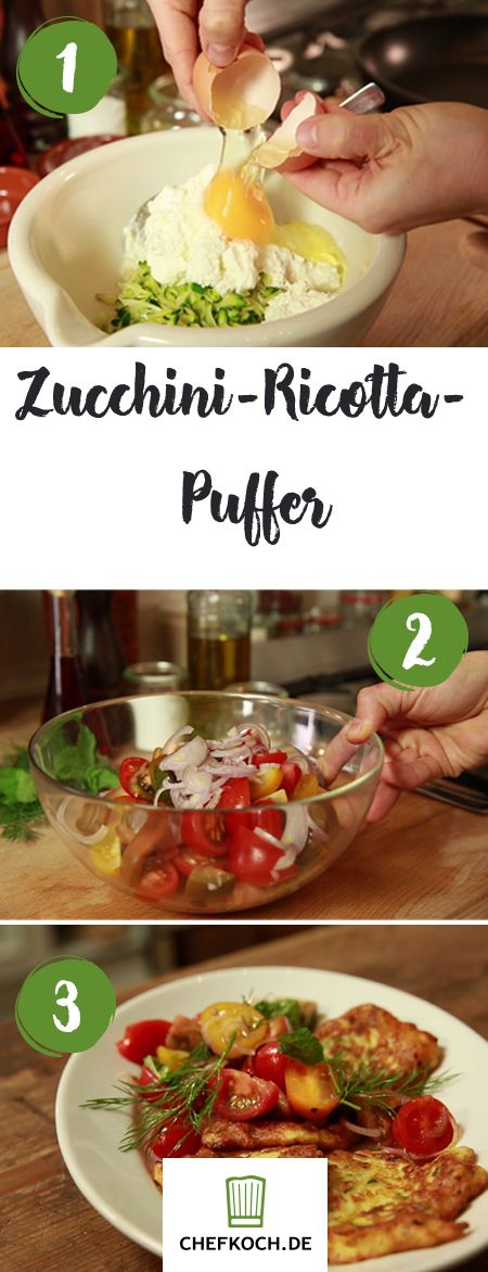 Perfekt zum Abendessen: Zucchini-Ricotta-Puffer. Dazu passt ein Tomatensalat mit Balsamico-Dressing.