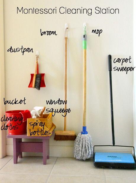 Montessori Cleaning Station. Montessori Materials Australia. Dustpan, Mop, Bucket, Window Squeege.