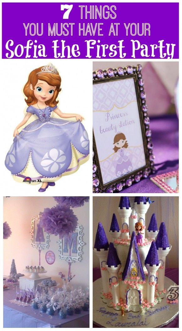 Sofia The First must-have birthday party ideas including castle cake, cupcake and decorations! See more party ideas at CatchMyParty.com. #sofiathefirst