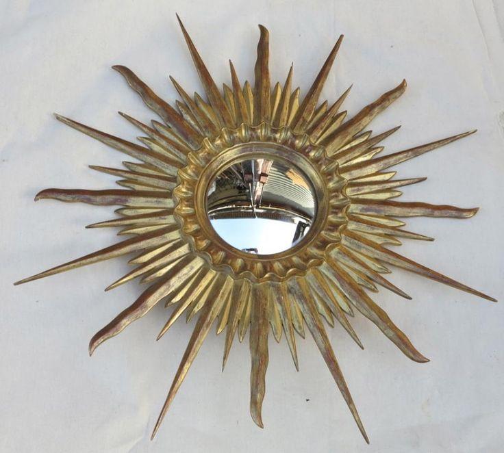 Miroir Soleil Convexe Cadre Bois Doré Feuilles D Or 78 Cm De Diamétre, A.ABC Pascal, Proantic