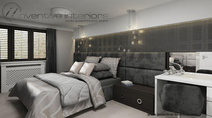 Projekt sypialni Inventive Interiors - ciemna sypialnia w odcieniach szarości