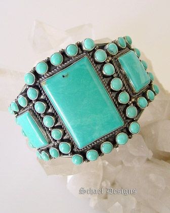 Kirk Smith Castledome Turquoise Cluster Cuff Bracelet | Signed Native American Jewelry | Schaef Designs Jewelry | San Diego CA