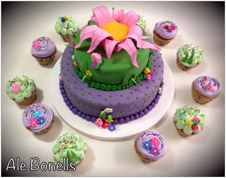 Cake & Cupcakes for a fairy party. The cake it's waiting for ...