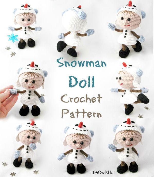 New crochet pattern from LittleOwlsHut Doll in a snowman outfit