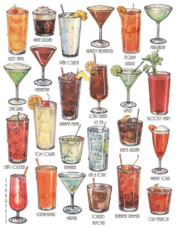 Cocktails Retro Art Drinks Vintage Printable Illustration Instant Download Collage - Altered Art Supply - Cocktail Party Decorations by mindfulresource