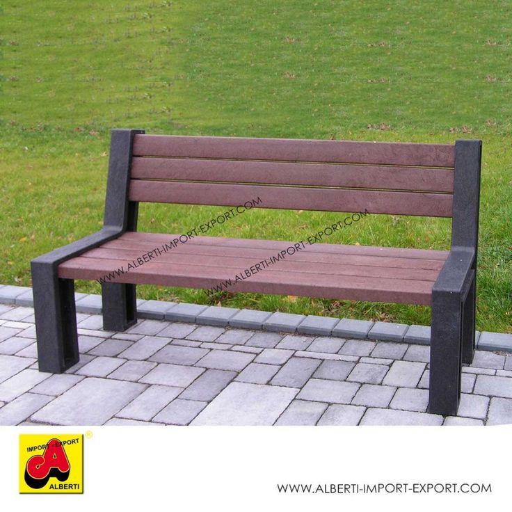 Panchina Hyde Park 195 cm con schienale in pvc riciclato Panca dallo stile puro e moderno, black-brown