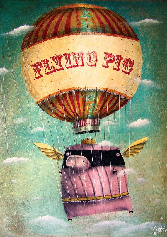 My painting reproduction / print *flying pig* by RobertRomanowicz on Etsy