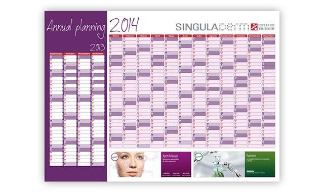 Calendario 2014 personalizado para SingulaDerm. Más información sobre proyectos de #merchandising en: http://www.regalodeempresagsr98.es/merchandising-espana-madrid-barcelona-zaragoza/